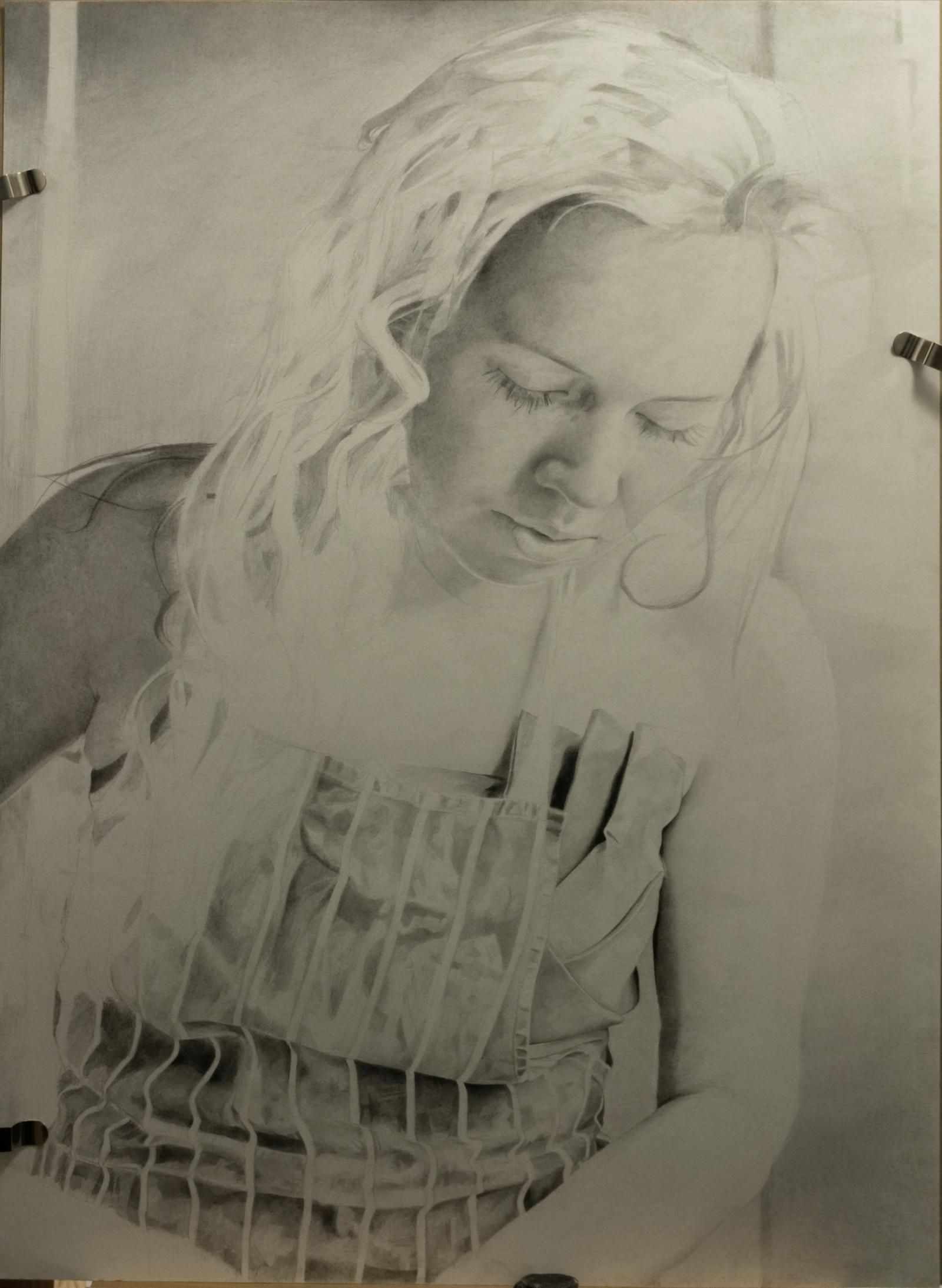 Pencil portrait progress: Jess in Apron - 100 hours