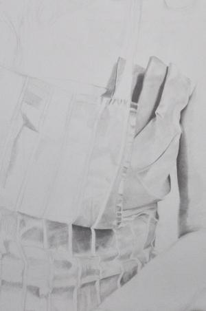 Detail - Pencil portrait progress: Jess in Apron - 20 hours
