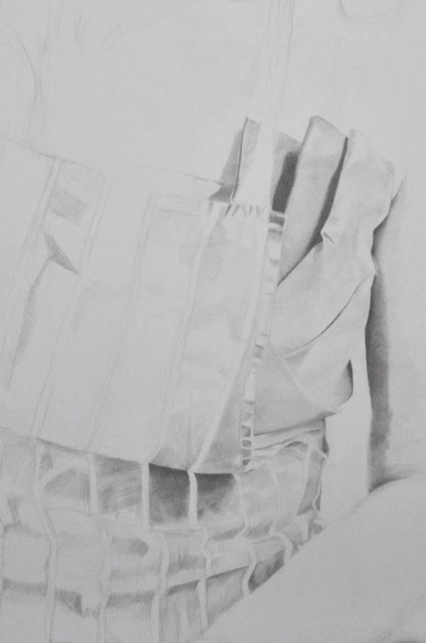 Detail - Pencil portrait progress: Jess in Apron - 20 hours: Detail of dress and apron. Work in progress: A1 pencil portrait on 300gms paper of my sister Jessica. Working from a photo I took over the Christmas holidays in 2011. Around 20 hours of drawing so far.