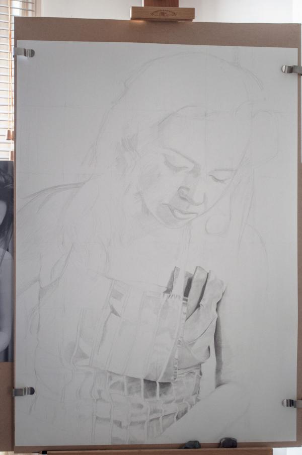 Pencil portrait progress: Jess in Apron - 20 hours: Work in progress: A1 pencil portrait on 300gms paper of my sister Jessica. Working from a photo I took over the Christmas holidays in 2011. Around 20 hours of drawing so far.