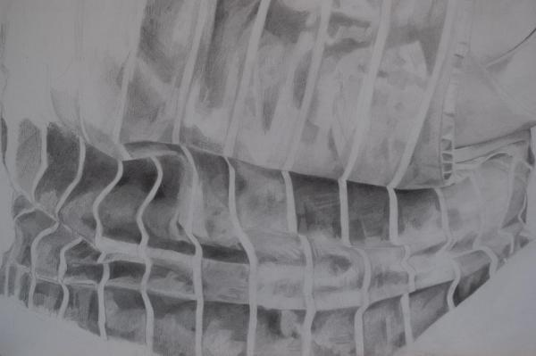 Detail - Pencil portrait progress: Jess in Apron - 45 hours: A1 pencil portrait after around 45 hours of work. No part is 100% done yet, I still feel like I'm just sketching in the base layer!