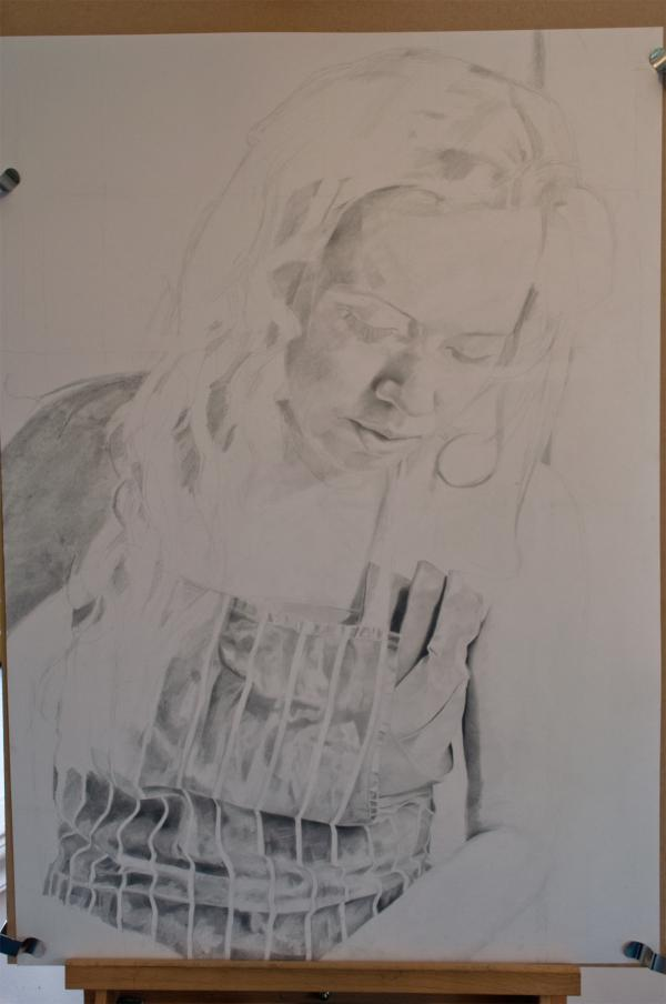 Pencil portrait progress: Jess in Apron - 45 hours