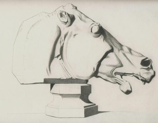 Plate I, 037 - Head of Horse, Parthenon - Attempt 2